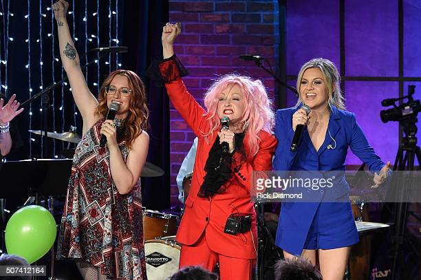 Ingrid Michaelson Cyndi Lauper and Kelsea Ballerini perform at Skyville Live Presents Girls Just Wanna Have Fun with Cyndi Lauper on January 28 2016...