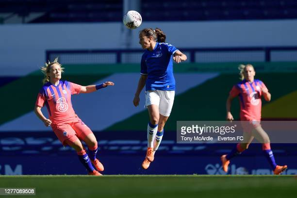 Ingrid Moe Wold of Everton Women heads the ball during the Women's FA Cup Quarter Final match between Everton and Chelsea at Goodison Park on...