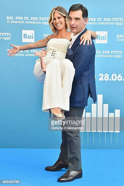 Ingrid Muccitelli and Tiberio Timperi attend Rai Show Schedule Presentation In Milan on June 28 2016 in Milan Italy