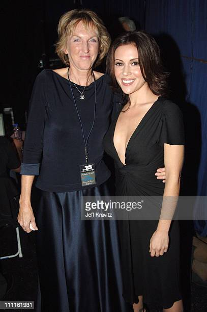 Ingrid Newkirk and Alyssa Milano during 25th Anniversary Gala for PETA and Humanitarian Awards Backstage and Audience at Paramount Studios in...