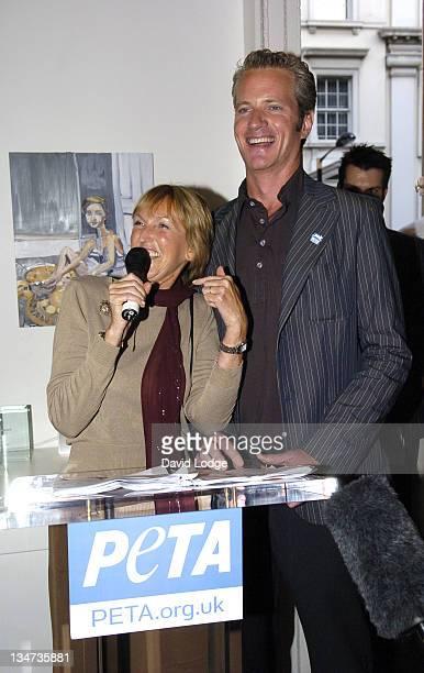 Ingrid Newkirk and Dan Mathews during PETA's Humanitarian Awards Inside at 30 Bruton Street in London Great Britain
