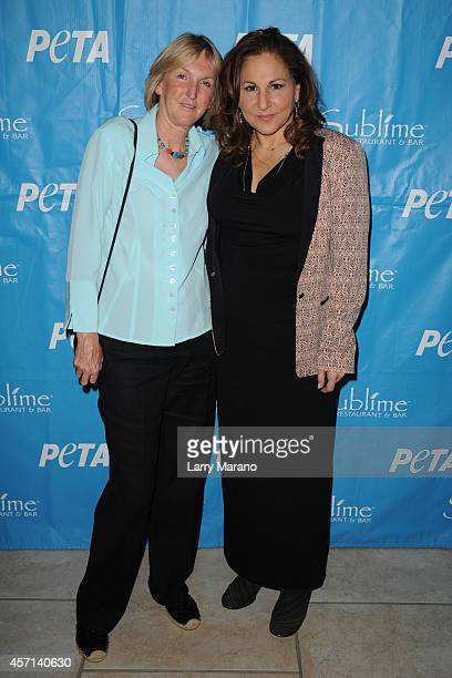 Ingrid Newkirk and Kathy Najimy pose during a PETA event and receives animal protection award at Sublime Restaurant on October 12 2014 in Fort...