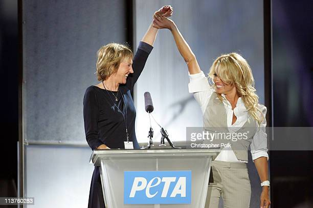 Ingrid Newkirk and Pamela Anderson during 25th Anniversary Gala for PETA and Humanitarian Awards - Show & Presentation at Paramount Pictures in...