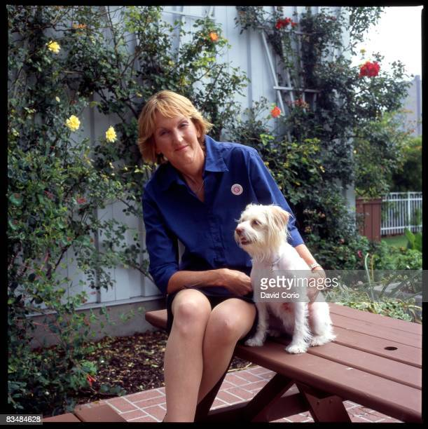 Ingrid Newkirk the head of PETA poses for a photo in the garden of PETA headquarters on June 9 2003 in Norfolk Virginia