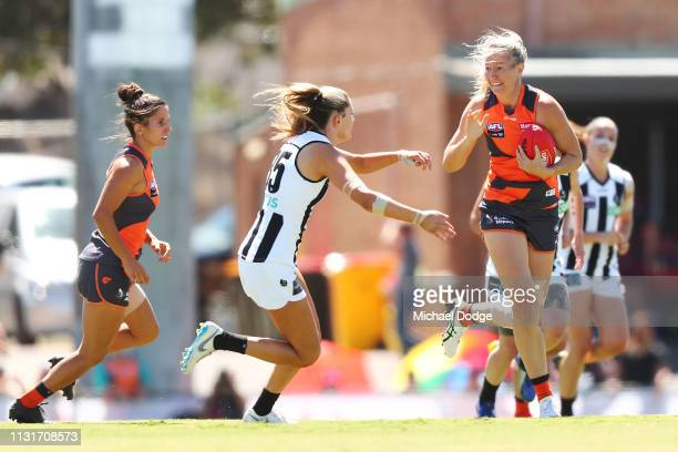 Ingrid Nielsen of GWS runs with the ball during the AFLW Rd 4 match between Collingwood and GWS at Morwekk Recreation Reserve on February 24 2019 in...