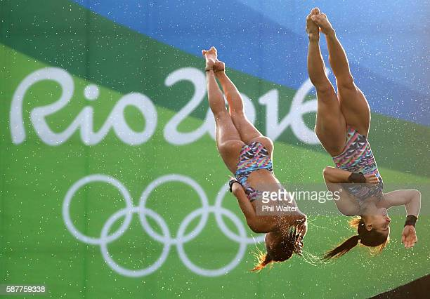 Ingrid Oliveira and Giovanna Pedroso of Brazil compete in the Women's Diving Synchronised 10m Platform Final on Day 4 of the Rio 2016 Olympic Games...