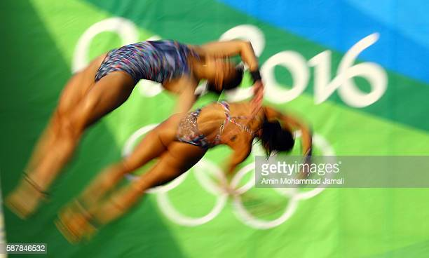 Ingrid Oliveira and Giovanna Pedroso of Brazil compete in the WomenÕs Diving Synchronised 10m Platform Final on Day 4 of the Rio 2016 Olympic Games...