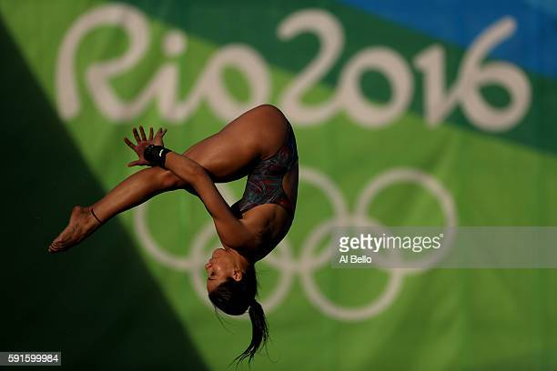 Ingrid Oliveira of Brazil competes during the Women's 10m Platform Diving preliminaries on Day 12 of the Rio 2016 Olympic Games at Maria Lenk...