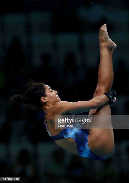 Ingrid Oliveira of Brazil competes during the Women's Diving 10M Platform preliminary round on day five of the Budapest 2017 FINA World Championships...