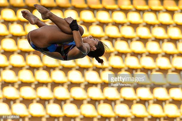 Ingrid Oliveira of Brazil competes in the women's 10m springboard as part of the 2016 FINA Diving World Cup at Maria Lenk Aquatics Centre on February...