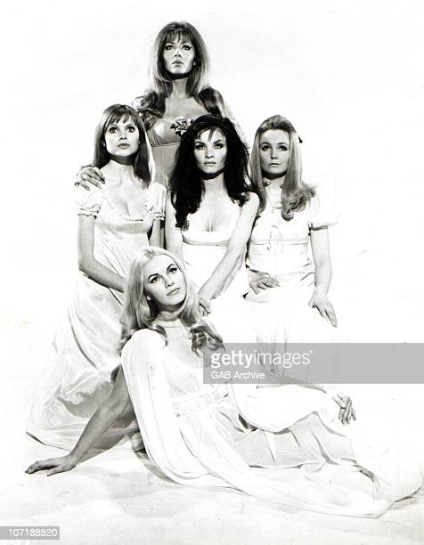 Ingrid Pitt with cast members from the Hammer Horror film 'The Vampire Lovers' in 1970 in the United Kingdom