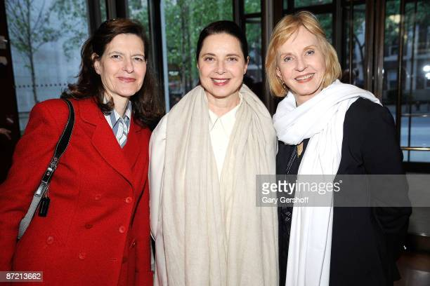 Ingrid Rossellini, actress Isabella Rossellini, and journalist Pia Lindstrom, attend the world premiere of Le Conversazioini FMR at The Morgan...