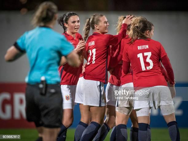 Ingrid S Engen Lisa Marie Utland Guro Reiten of Norway during Algarve Cup between Australia v Norway on February 28 2018 in Albufeira Portugal