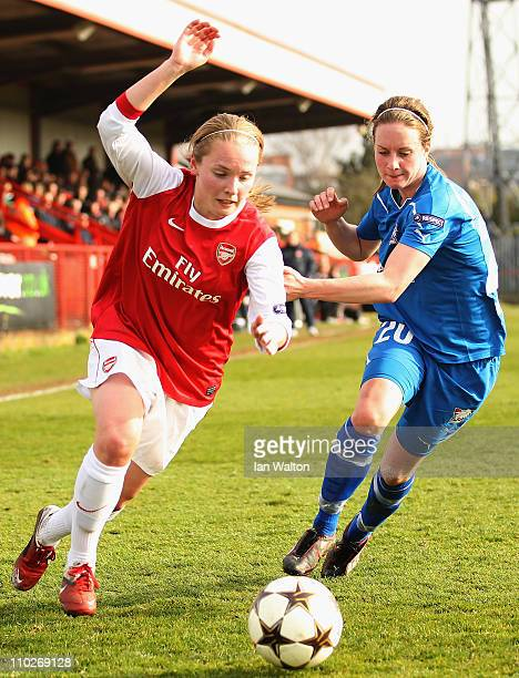 Ingrid Schiclerup of Linkopings tries to tackle Kim Little of Arsenal during the UEFA Women's Champions League Quarter Final match between Arsenal...