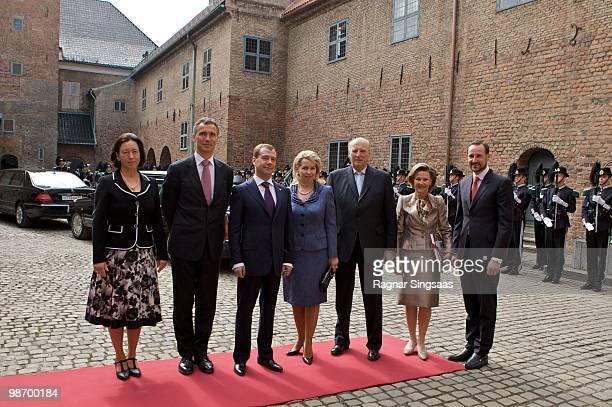 Ingrid Schulerud Norwegian Prime Minister Jens Stoltenberg Russian President Dmitry Medvedev Svetlana Medvedeva King Harald V of Norway Queen Sonja...