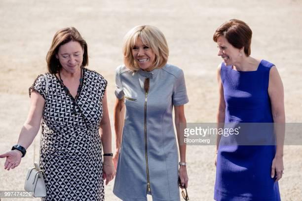 Ingrid Schulerud wife of North Atlantic Treaty Organization secretary general Jens Stoltenberg left Brigitte Macron wife of Frances President...