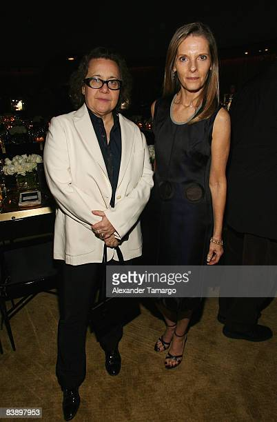 Ingrid Sischy and Sandra Brant from Vanity Fair/Vanity Fair International attend a private dinner in honor of Anri Sala at the Cartier Dome Miami...