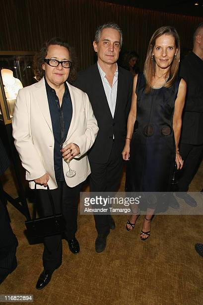Ingrid Sischy and Sandra Brant from Vanity Fair/Vanity Fair International pose with Director of the Cartier Foundation for Contemporary Art Herve...