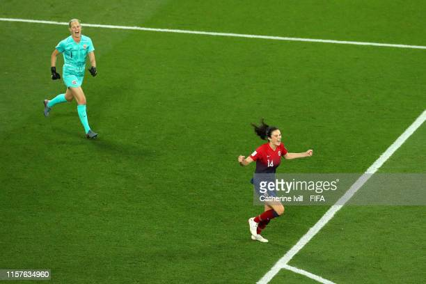Ingrid Syrstad Engen of Norway celebrates after scoring the winning penalty in the penalty shoot out during the 2019 FIFA Women's World Cup France...