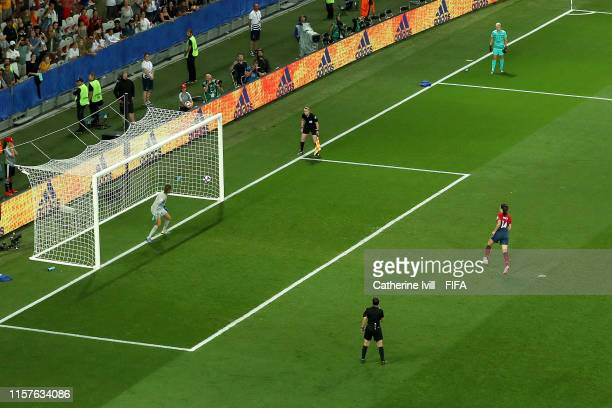 Ingrid Syrstad Engen of Norway scores her sides winning penalty in the penalty shoot out during the 2019 FIFA Women's World Cup France Round Of 16...