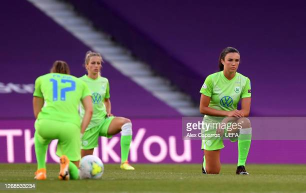 Ingrid Syrstad Engen of Vfl Wolfsburg takes a knee in support of the Black Lives Matter movement during the UEFA Women's Champions League Semi Final...