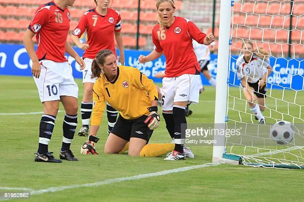 Ingrid Thorbjornsen , goalkeeper of Norway, looks dejected after the goal of Stefanie Mirlach of Germany during the Women's U19 European Championship...