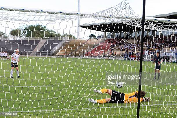 Ingrid Thorbjornsen, goalkeeper of Norway, stops a penalty shoot of Marina Hegering of Germany during the Women's U19 European Championship match...