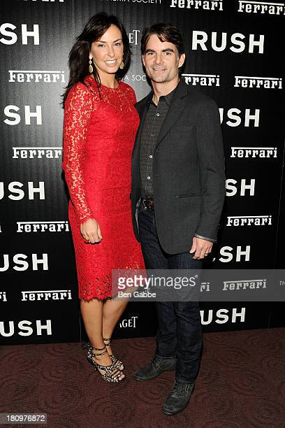 Ingrid Vandebosch and husband race car driver Jeff Gordon attend the Ferrari The Cinema Society screening of Rush at Chelsea Clearview Cinemas on...