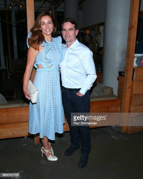 """Ingrid Vandebosch and Jeff Gordon attend the Gucci & The Cinema Society after party of Roadside Attractions' """"Beatriz At Dinner"""" at Mr. Purple on..."""