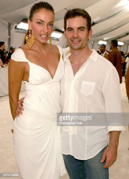 Ingrid Vandebosch and Jeff Gordon during 2005 MTV Video Music Awards White Carpet at American Airlines Arena in Miami Florida United States