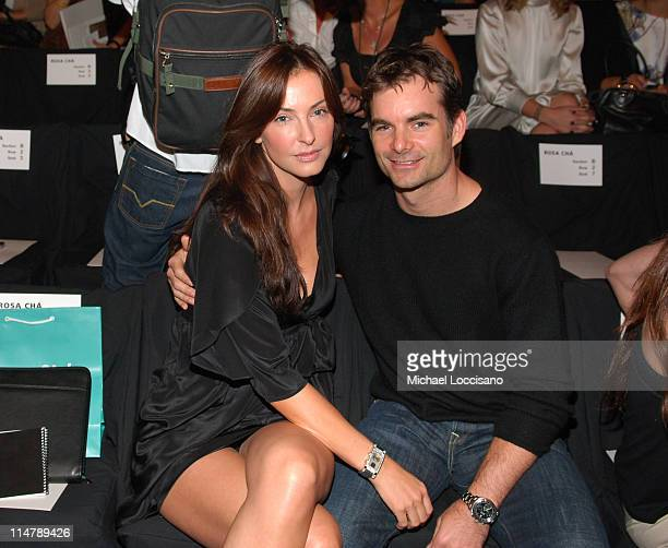 Ingrid Vandebosch and Jeff Gordon during Olympus Fashion Week Spring 2007 Rosa Cha Front Row and Backstage at The Tent Bryant Park in New York City...