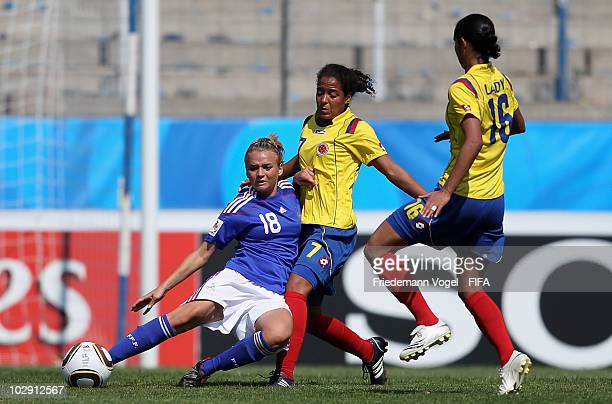 Ingrid Vidal of Colombia battles for the ball with Marion Torrent of France the FIFA U20 Women's World Cup Group A match between Colombia and France...