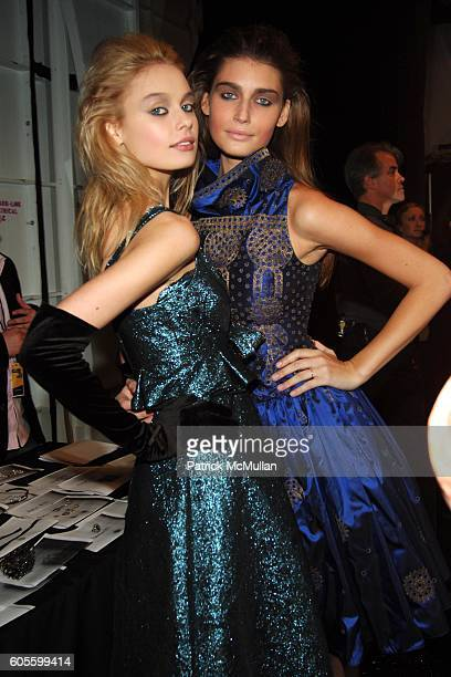 Inguna Butane and Eugenia Volodina attend BADGLEY MISCHKA Fall 2006 Fashion Show - Backstage at The Tent at Bryant Park on February 5, 2006 in New...