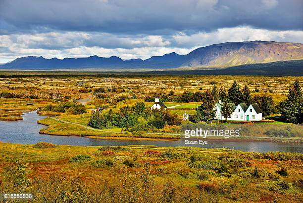 þingvellir rift valley with the althing, the national parliament of iceland - thingvellir stock photos and pictures
