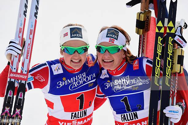 Ingvild Flugstad Oestberg and Maiken Caspersen Falla of Norway celebrate winning the gold medal in the Women's CrossCountry Team Sprint Final during...