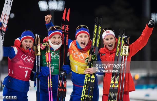 Ingvild Flugstad Oestberg Astrid Uhrenholdt Jacobsen Ragnhild Haga and Marit Bjoergen of Norway during the Womens 4x5km Relay CrossCountry Skiing on...