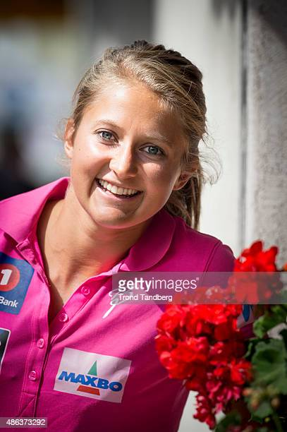 Ingvild Flugstad Oestberg during press conference with Norwegian Ski Team Cross Country on September 03 2015 in Livigno Norway