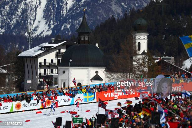 Ingvild Flugstad Oestberg of Norway and Frida Karlsson of Sweden compete during the Women's 4x5km Cross Country Relay at the FIS Nordic World Ski...