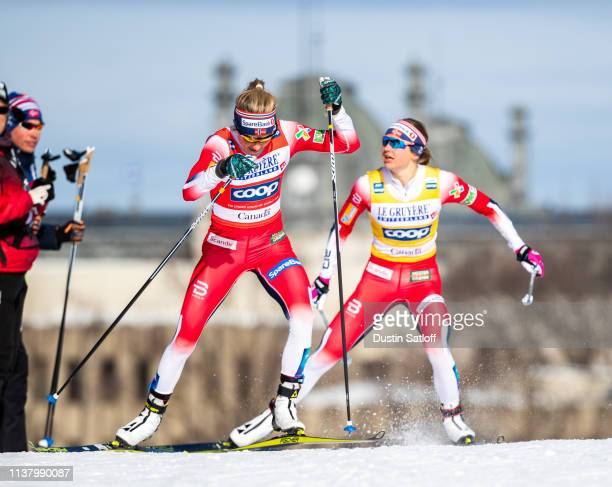 Ingvild Flugstad Oestberg of Norway and Therese Johaug of Norway compete in the Women's 10km freestyle pursuit during the FIS Cross Country Ski World...