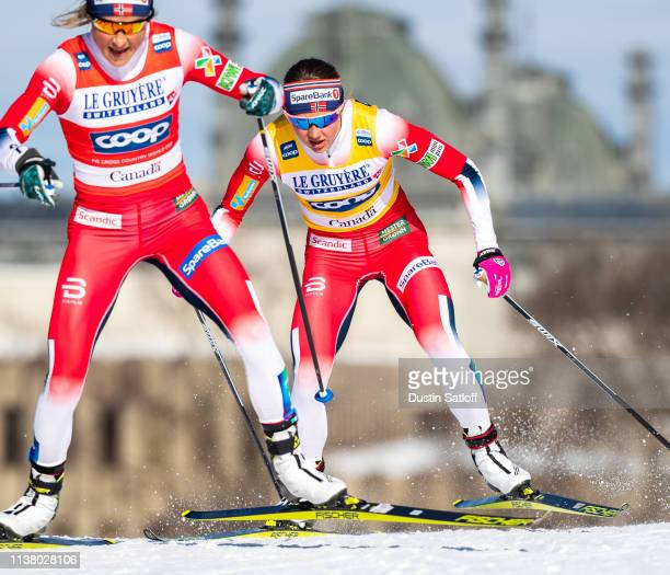 Ingvild Flugstad Oestberg of Norway and Therese Johaug of Norway competes in the Women's 10km freestyle pursuit during the FIS Cross Country Ski...