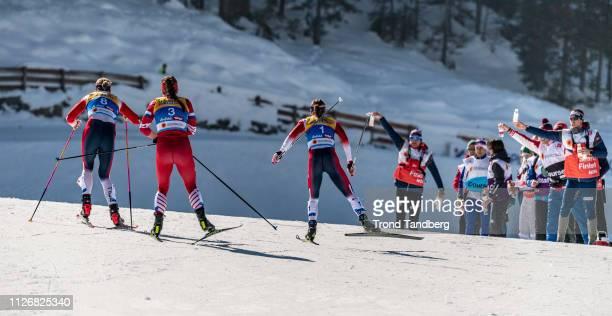 Ingvild Flugstad Oestberg of Norway Astrid Uhrenholdt Jacobsen of Norway Natalia Nepryaeva of Russia during FIS Nordic World Ski Championship Cross...