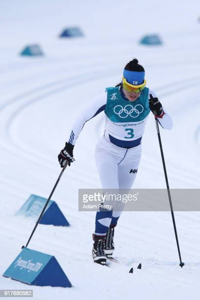 Ingvild Flugstad Oestberg of Norway competes during the CrossCountry Ladies' Sprint Classic Qualification on day four of the PyeongChang 2018 Winter...