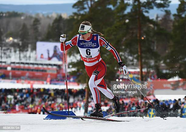 Ingvild Flugstad Oestberg of Norway competes during the Women's CrossCountry Sprint Qualification during the FIS Nordic World Ski Championships at...