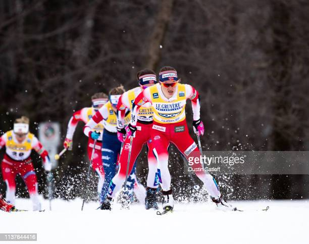 Ingvild Flugstad Oestberg of Norway competes in the sprint quarterfinal heat during the FIS Cross Country Ski World Cup Final on March 22 2019 in...