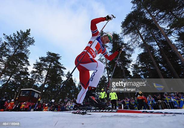 Ingvild Flugstad Oestberg of Norway competes in the Women's CrossCountry Team Sprint Final during the FIS Nordic World Ski Championships at the...