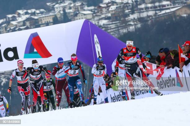Ingvild Flugstad Oestberg of Norway competes Jessica Diggins of USA competes Heidi Weng of Norway takes 1st place Teresa Stadlober of Austria takes...
