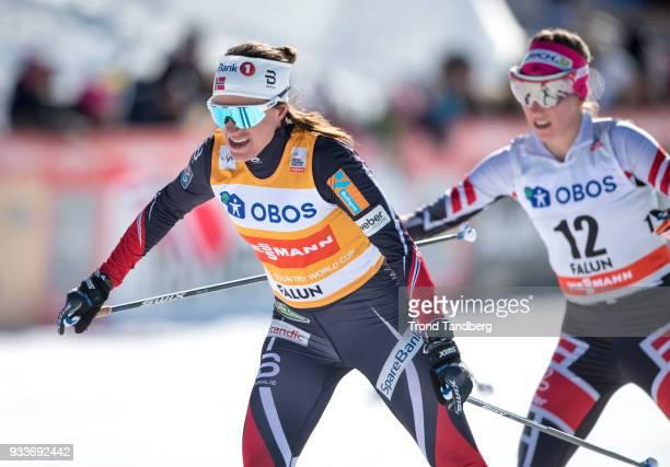 Ingvild Flugstad Oestberg of Norway during Ladies 10.0 km Pursuit Free at Lugnet Stadium on March 18, 2018 in Falun, Sweden.