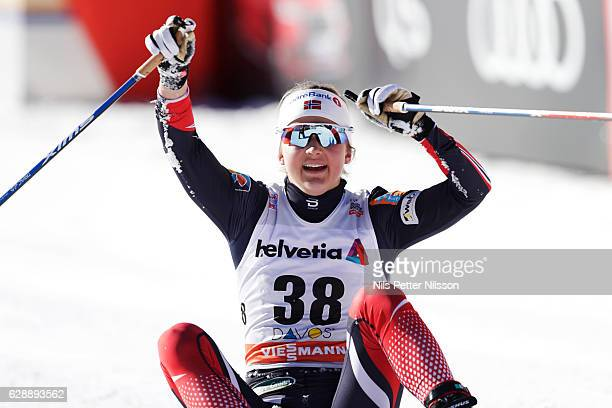 Ingvild Flugstad Oestberg of Norway during the Viessmann FIS Cross Country World Cup women's 15 km free technique on December 10 2016 in Davos...