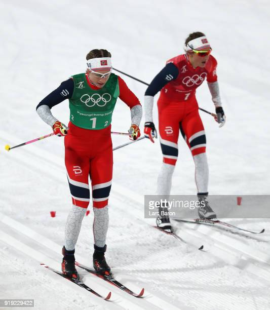 Ingvild Flugstad Oestberg of Norway hands over to Astrid Uhrenholdt Jacobsen of Norway during the Ladies' 4x5km Relay on day eight of the PyeongChang...