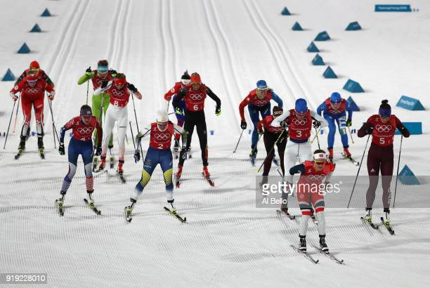 Ingvild Flugstad Oestberg of Norway leads at the start during the Ladies' 4x5km Relay on day eight of the PyeongChang 2018 Winter Olympic Games at...